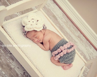 The Emma Beanie in Pink, Gray and Ecru with Matching Diaper Cover Available in Newborn to 12 Months- MADE TO ORDER
