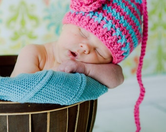 The Pixie Beanie in Bright Pink and Aqua Available in Newborn to 12 Months- MADE TO ORDER