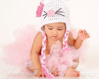 Little Miss Kitty Beanie in White, Baby Pink and Bright Pink Available in Newborn to 5 Year Size- MADE TO ORDER