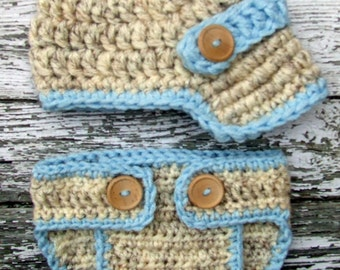 The Oliver Newsboy Cap in Wheat and Baby Blue with Matching Diaper Cover Available in Newborn to 24 Months Size- MADE TO ORDER