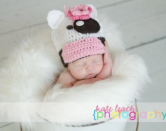 Little Miss Baby Cow Beanie in White, Baby Pink and Black Available in Newborn to 5 Years Size- MADE TO ORDER