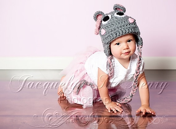 Miss Hippo Beanie in Baby Pink and Gray Available in Newborn to Adult Size- MADE TO ORDER