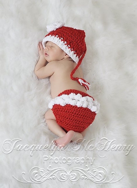 Santa's Little Helper Beanie and Ruffle Diaper Cover in Candy Apple Red and White Available in Newborn to 12 Months- MADE TO ORDER