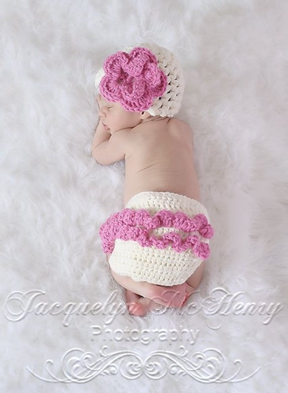 The Emma Beanie in Ecru and Bright Pink with Matching Diaper Cover Available in Newborn to 12 Months- MADE TO ORDER