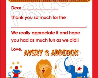 Carnival Circus Thank You Cards - DIY PRINTABLE FILE