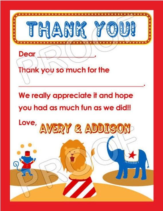Carnival Circus Thank You Cards - DIY PRINTABLE FILE