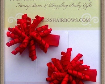 Itty Bitty Red Mini Korker Bow Set of 2 Great for Little Ones Outfit