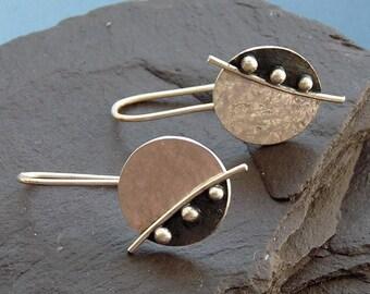 Sterling silver earrings. Silver disc earrings. Silver jewellery. Handcrafted jewellery. Drop earrings. MADE TO ORDER.