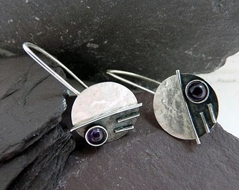 Sterling silver earrings with amethyst. Silver drop earrings. Amethyst earrings. Silver jewellery. Handmade. MADE TO ORDER.
