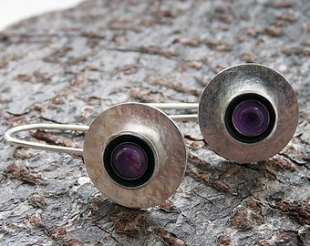 Sterling silver earrings with amethyst.  Amethyst earrings. Disc earrings. Drop earrings. Silver jewellery.  Handcrafted. MADE TO ORDER.