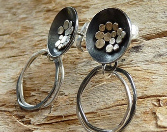 Sterling silver stud earrings. Sterling silver post earrings. Silver earrings. Oxidised. Silver jewellery. Handmade. MADE TO ORDER.