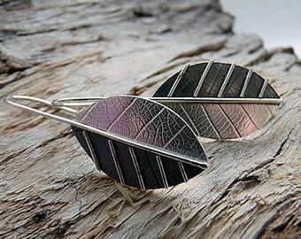 Sterling silver leaf earrings. Silver drop earrings. Silver jewellery. Handmade. MADE TO ORDER.