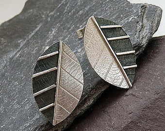 Sterling silver leaf post earrings. Silver post earrings.  Silver leaves studs. Silver jewellery. Handmade. MADE TO ORDER.