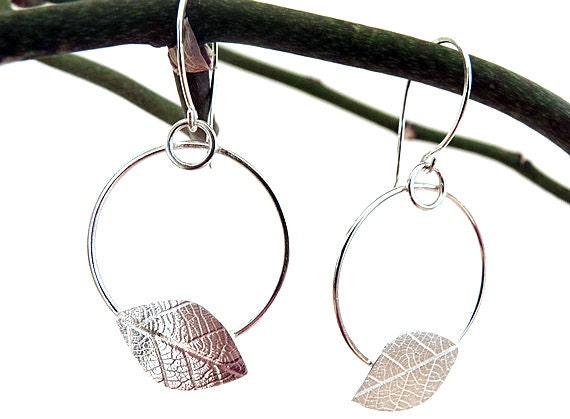 Sterling silver drop earrings. Sterling silver dangle earrings. Leaf earrings. Silver jewellery. Handmade.