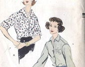 "1950s Misses Tuck In Blouse Vintage Sewing Pattern, French Cuffs, Vogue 9075  bust 36"" uncut - MissBettysAttic"