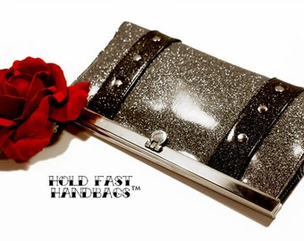 Silver Glitter Vinyl Wallet with Your Choice of Trim - MADE TO ORDER