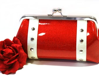 Ruby Red Glitter Vinyl Clutch with Your Choice of Trim, Retro, Rockabilly, Pin Up - MADE TO ORDER