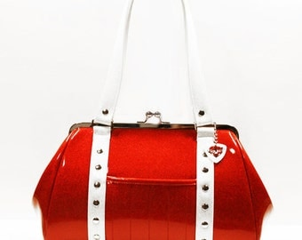 Ruby Red Sparkle Vinyl Purse with Your Choice of Trim - MADE TO ORDER
