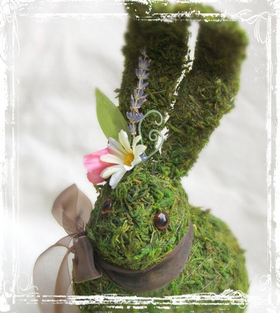 Moss Covered Bunny - Easter Decoration - Woodland Wedding Rabbit Decor - Spring Green Pink Cute - Long Ears