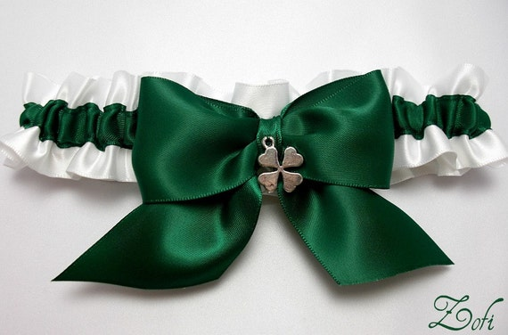 Wedding garter - bridal garter - emerald green and white garter with four leaf clover - green garter - green irish garter - shamrock garter