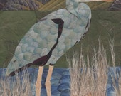 Pressed Flower Art Print ~Patience is a Virtue~ Blue Heron in a Sunny Marsh