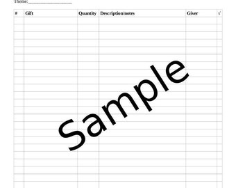 Wedding Gift Recorder, Bridal Shower, Wedding Shower GIft Record Sheet, Printable, Plain (Black or Gray)