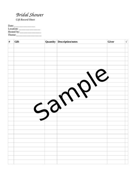 wedding shower gift record template - 28 images - wedding gift ...