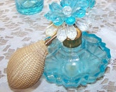 Vintage West German Aqua Turquoise Blue Cut Glass Perfume Bottle with Fancy Top and Puffer Spray - Gift for Collector