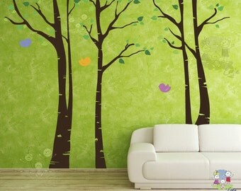 Birch Tree Wall Decals - Birch Tree with FREE Birds Wall Stickers  - TRBR020R