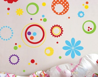 Polka Dot Flowers - Vinyl Sticker - Children Nursery Baby Kid Boy Girl Wall Decal - MDFD020