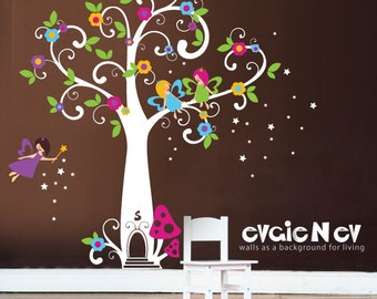 Wall Decals For Girls   Fairy Wall Decals, Tree With Flowers And Stars Wall  Sticker Part 77