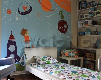 Outer Space Wall Decals, Boys Wall Decals, Space Wall Stickers, Children  Wall Decals