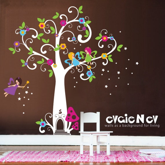 Girls wall decals fairy wall decals fairy tree with for Fairies wall mural