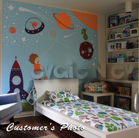 Outer space wall decals boys wall decals space wall for Outer space vinyl wall decals