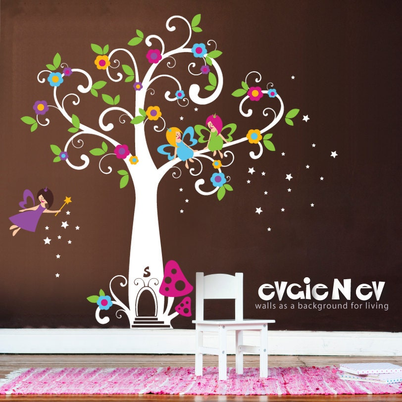 Girls wall decals fairy wall decals fairy tree with - Sticker chambre bebe fille ...