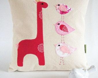 Organic Cotton Canvas Children's Pillow Cover/ Giraffe and Birds/ 16x16/ Taller the Better/ OOAK/ Made To Order