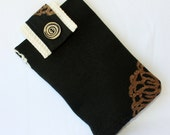 CLEARANCE SALE E-Reader Kindle Sleeve Padded-Black and White and Brown Flower Pattern