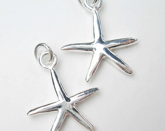 One Sterling Silver Starfish Charm with Jump Ring 16 x 13mm