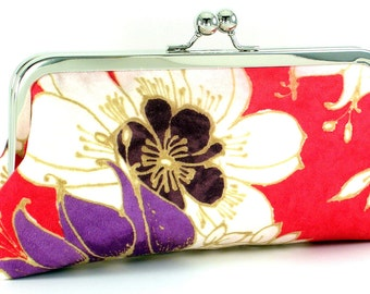 Red Clutch Purse - White Flower Evening Frame Bag - Handmade Floral Metal Kiss lock Clasp Framed Handbag