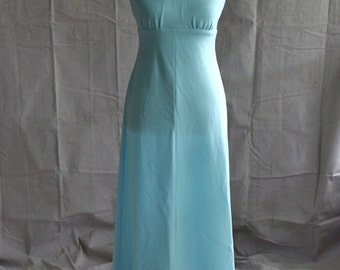 1960's Maxi Dress / Sky Blue Halter with Crop Cover up Jacket