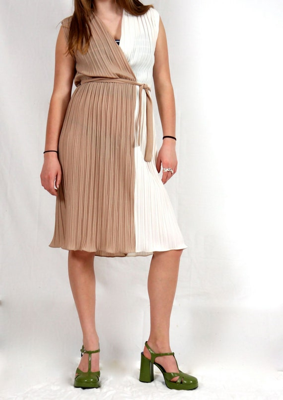 Sundress / Color Block / Faux Wrap / Tan and Cream