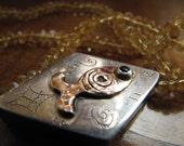 Citrin Necklace  Silver Gold Pendant