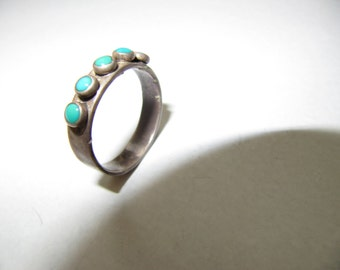 Five Tourquise Silver Ring