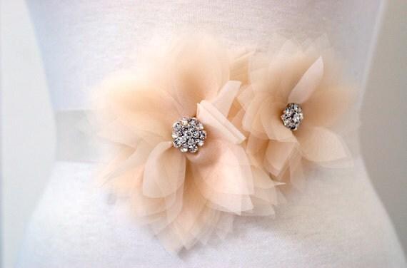 Double Crystal Lily Bridal Sash : S017 made to order, satin or grosgrain sash, customizable