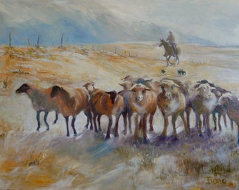 Sheep Herding (40x30) Large Original Oil Painting on Canvas by Diane Borg