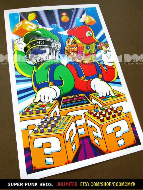 Unlimited 11x17 Super Punk Bros fan art poster