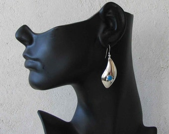 Solid Sterling Silver Handmade Freeform Earrings--Imitation Blue Opals--Clip Style Available--Made in USA--FREE Shipping