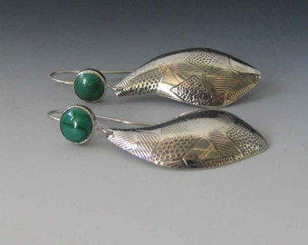 Solid Sterling Silver Dangle Drop Earrings with Green Malachite - Freeform Earrings - Handmade by Me in USA - FREE Shipping