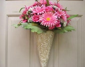 Pink Daisies Floral Arrangement, Spring Door Wreath, Valentine Day Decor, Pink Roses Door Hanger, Pink Wreath, Pink Bridal Baby Shower Decor