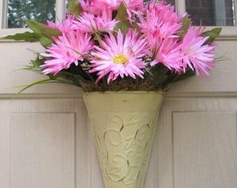 Pink Wreath, Pink Flower Arrangement, Floral Wall Decor, Pink Door Decor, Cottage Chic Decor, Baby Shower Flowers, Bridal Shower Floral